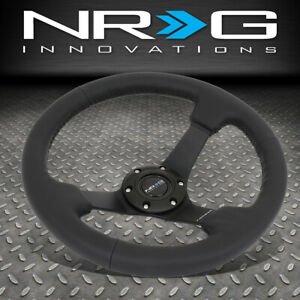 Nrg Reinforced 330mm 3 Deep Dish Black Leather Grip Steering Wheel W Horn Button