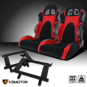 1999 2004 Ford Mustang Black Red Faux Suede Racing Seats Brackets