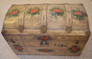 Vtg Antique Barrel Top Steamer Trunk Hand Painted Pink Roses Shelf Ornate Brass