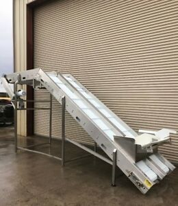 Dual Lane 18 X 17 Long Stainless Incline Food Conveyor Cleated Belt