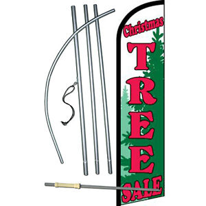 Christmas Tree Sale Holiday Windless Swooper Feather Banner Flag Bundle Kit