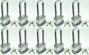 Lock Set By Master M1kalj lot Of 10 Keyed Alike Long Carbide Shackle Magnum