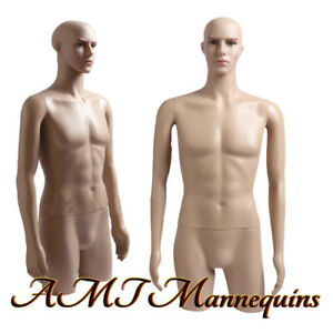 Male Mannequin Dress Form With Rotated Arms And Head Plastic Torso Mt 2c
