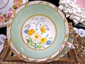 Tuscan Tea Cup And Saucer Lime Green Floral Painted Teacup With Flower Handle