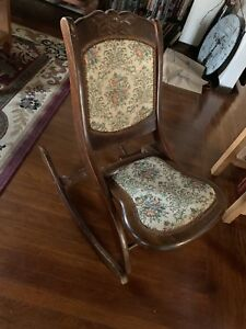 Vintage Wooden Brown Folding Rocking Chair Needlepoint Back Seat Cushion