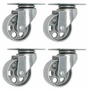 4 All Steel Swivel Plate Caster Wheels Heavy Duty High gauge Steel Gray 4 Metal