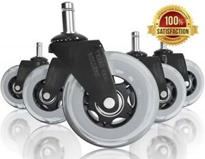 Office Chair Caster Wheels Heavy Duty Safe Replacement Carpet Tile Wood Floors
