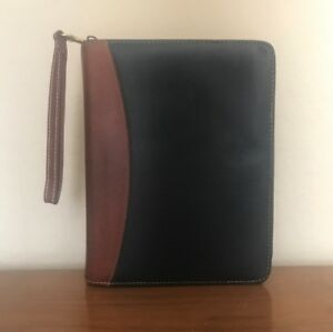 Franklin Covey Brown Black Leather Classic Planner Binder Open 1 5 Rings Quest
