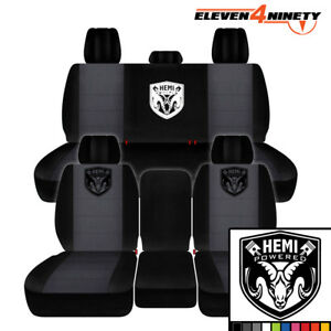 2011 2018 Dodge Ram 2500 Car Seat Covers Black Charcoal With Hemi Design