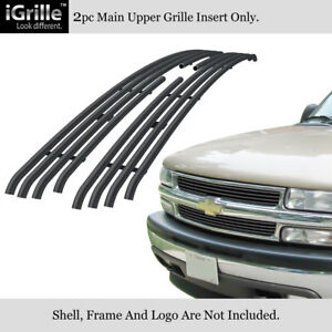 Fits 1999 2002 Chevy Silverado 1500 00 06 Tahoe Stainless Black Tubular Grille