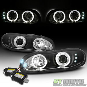 1998 2002 Chevy Camaro Dual Led Halo Projector Headlights 8000k Slim Hid Kit