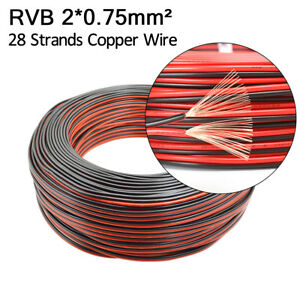 2pin Red Black Rvb Electronic Wire 0 75 Mm Parallel Copper Led Extention Cable