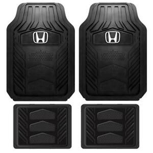 Honda Logo Heavy Duty All Weather Durable Rubber Front Rear Floor Mat 4pcs Set
