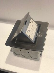 New Lew Electric Pufp sq ss gfi Pop Up 20 Amp Gfci Outlet Box Stainless Steel