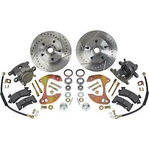 Deluxe Disc Brake Kit 1955 64 Chevy Full size Car drilled slotted