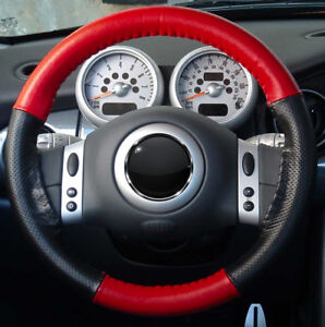 1999 2014 Custom Cadillac Escalade Leather Steering Wheel Cover Red Perf Black