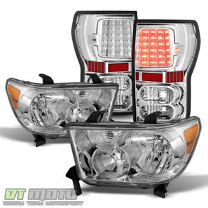 For 2007 2013 Toyota Tundra Chrome Headlights Bright Led Tail Lights Left Right