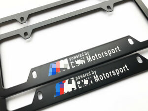 Fit For Bmw Motorsport Metal Black License Plate Frames M Powered Emblem 2pcs