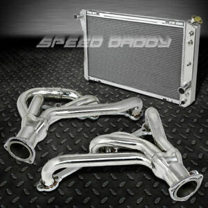 Racing Manifold Header exhaust 3 row Radiator 82 92 Chevy Camaro firebird V8 Z28