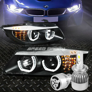 Black Halo Projector Headlight Corner White Led H7 Hid W Fan For 09 12 Bmw E90