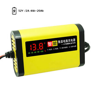 Car Motorcycle Battery Charger 12v 2a 3 Stages Lead Acid Agm Gel Lcd Display