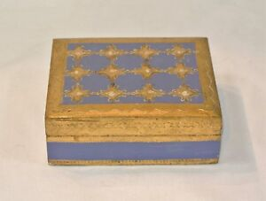 Vintage Florentine Gilt Italian Wood Toleware Trinket Jewelry Box Blue Gold