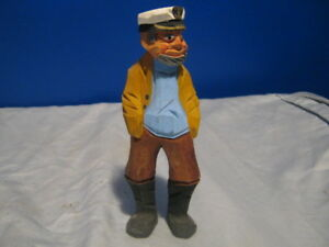 Wooden Carved Sailor Laker Figurine 7 Tall 1984