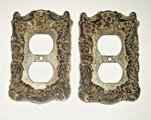 Vintage Lot Of 2 Ornate Brass Tone Metal Wall Electric Double Outlet Covers