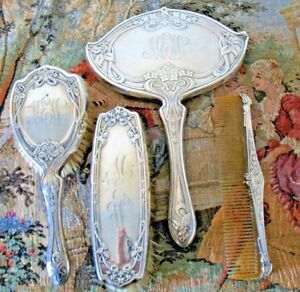 Antique Sterling Silver Mirror Brush Grooming Dresser Set