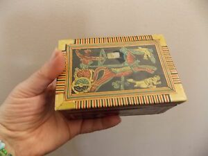 Awesome Old Vintage Egyptian Wood Box Bone Inlay 1930 S