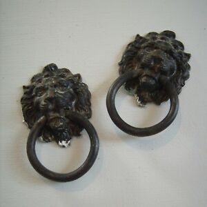 Vintage 2 Brass Lion Head W Ring Cabinet Door Drawer Pull Metal Gothic