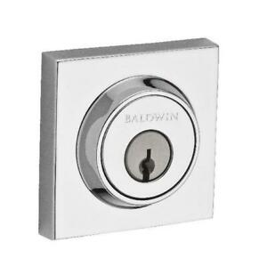 Baldwin Single Cylinder Contemporary Square Deadbolt With Smartkey Bright Chrome