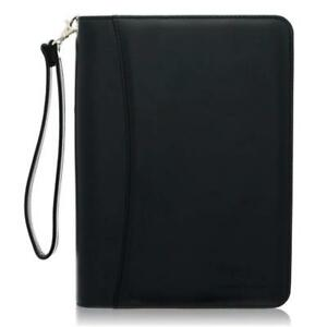 Small Zippered Business Padfolio With Junior Legal Notepad Black Pu
