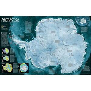 National Geographic Map Of Antarctica One Sided Satellite Image Laminated