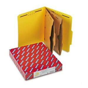 Smead Pressboard Folders With 2 Pocket Dividers Letter 6 section Yellow 10 box