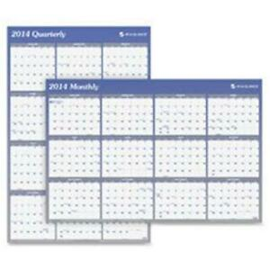 At a glance Erasable Wall Calendar With Markerjan dec 2 sided 36 X 24 In blue