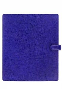 Filofax Finsbury A5 Organiser Electric Blue Textured Rambler Print Leather