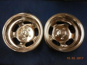 Polished 14x8 Slot Mag Wheels Ford Dodge Mags Mopar Chevelle Camaro 442 Gto Ss