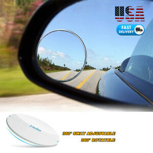 2x Car Blind Spot Mirror 360 Rotatable Adjustable Rear View Mirror Frameless Hd
