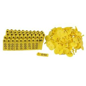 Bqlzr Goat Sheep Pig 1 100 Number Plastic Livestock Ear Tag With Yellow