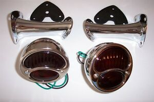 1928 1931 Ford Model A Taillight Kit Stainless Lights With Glass Lenses