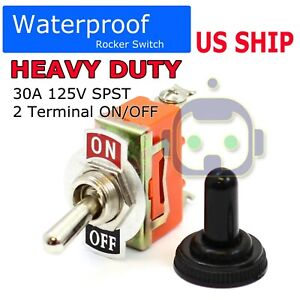 Toggle Switch Heavy Duty 20a 125v Spst 2 Terminal On off Car Waterproof Atv