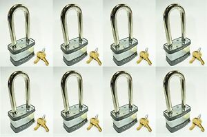 Lock Set By Master 1kalj lot Of 8 Keyed Alike Long Shackle Laminated Padlocks