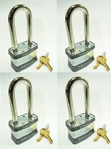 Lock Set By Master 1kalj lot Of 4 Keyed Alike Long Shackle Laminated Padlocks