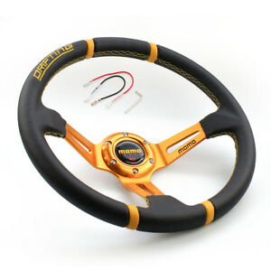 Gold 350mm Deep Dish Real Leather Racing Drifting Off Road Sport Steering Wheel