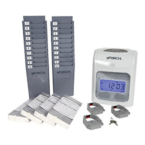 Calculating Upunch Time Clock Bundle With 200 Cards 3 Ribbons 2 Time Card