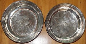 12 Hand Made Antique Turkish Tin Coated Copper Sifter Cauldron Set Of 2