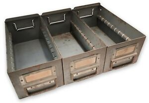 Lot Of 3 Vintage Industrial Factory Metal Storage Drawer Bin Duty Decor Heavy