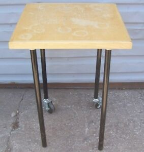 Store Display Fixtures Square Oak Display Table With Rollers 34 Tall