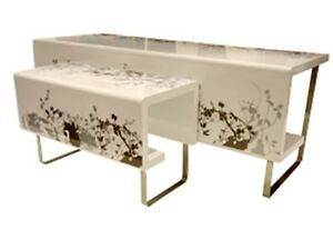 Used 2 Set Rounded Rectangle Stainless Table For Clothes Display